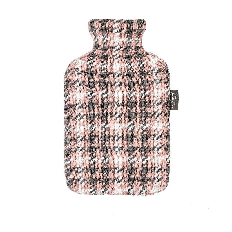 Fashy warm waterkruik met gebreide hoes | roze/grijs